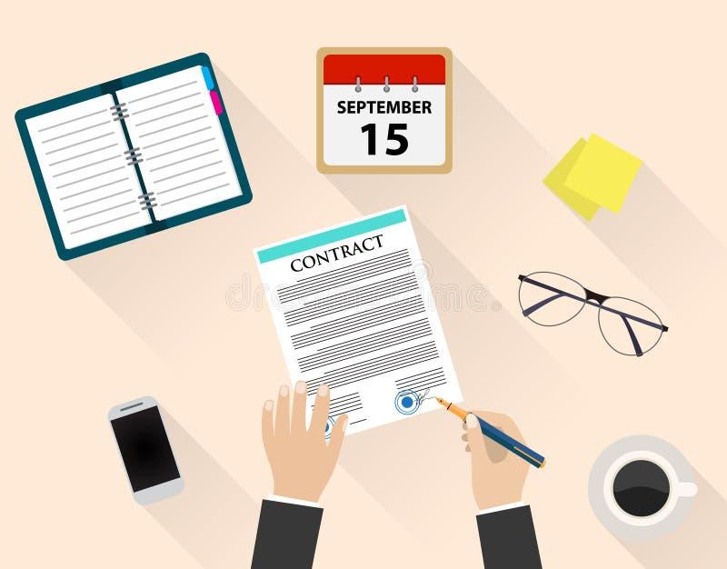 Document d'homme d'affaires s'enregistrant le contrat illustration de vecteur