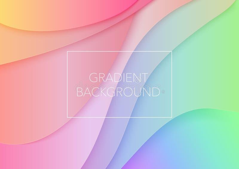 Document de abstracte golven van het kunstbeeldverhaal In de krommenachtergrond van de gradiëntkleur 3d volumetrische document do stock illustratie