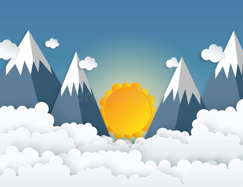 Document de bergen van de kunstorigami met sneeuw, witte wolken stock illustratie