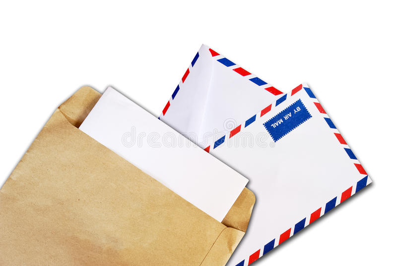 Document de Brown et enveloppe de la poste aérienne d'isolement photo libre de droits