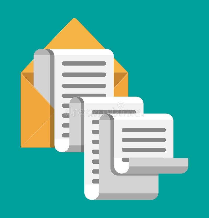 Document de correspondentie van de envelopbrief stock illustratie
