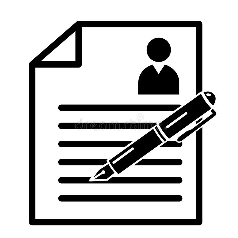 Document de curriculum vitae de cv de résumé de recrutement avec le stylo d'écriture illustration libre de droits