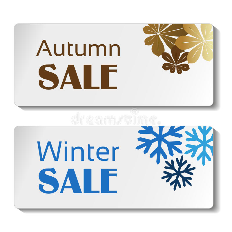 Document de herfst en de winterverkoopetiket, witte sticker met bruine bladeren en blauwe sneeuwvlokken royalty-vrije illustratie