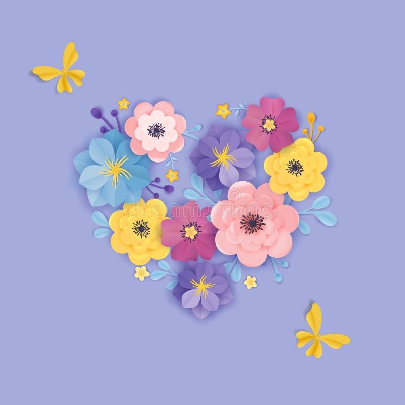 Document de Kaartmalplaatje van de Snijbloemengroet De bloemenstijl van de Achtergrondhartorigami Het botanische Ontwerp van de d royalty-vrije illustratie