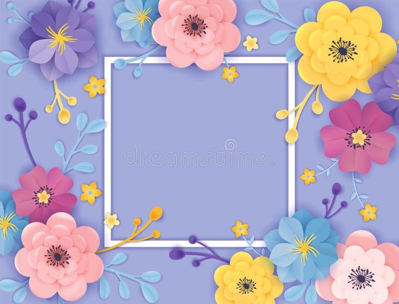 Document de Kaartmalplaatje van de Snijbloemengroet De bloemenstijl van de Achtergrondkaderorigami Het botanische Ontwerp van de  vector illustratie