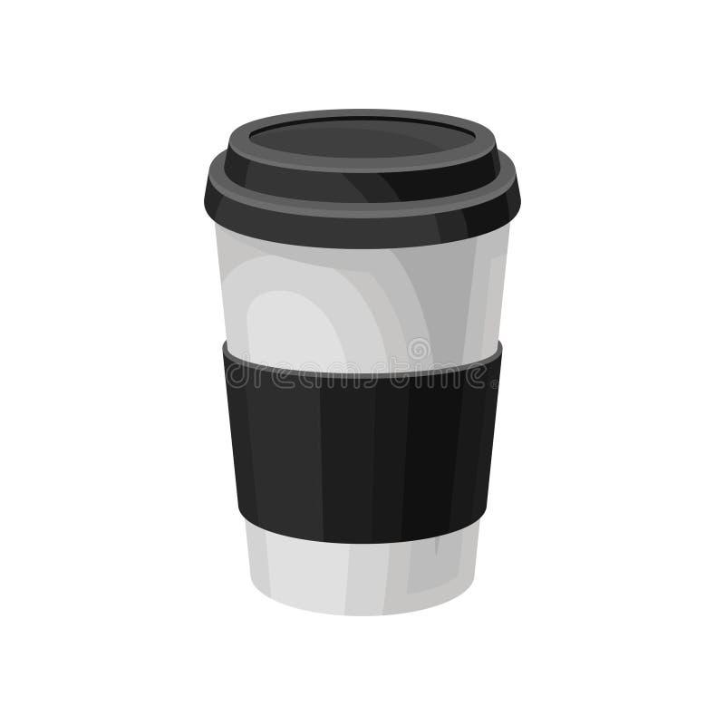 Document de koffiekop met zwart plastic deksel, haalt vectorillustratie van het koffie de verpakkende malplaatje op een witte ach vector illustratie
