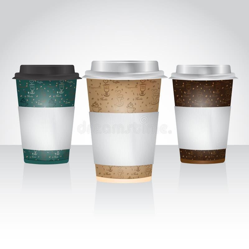 Document de Kop voor haalt koffie of thee weg stock illustratie