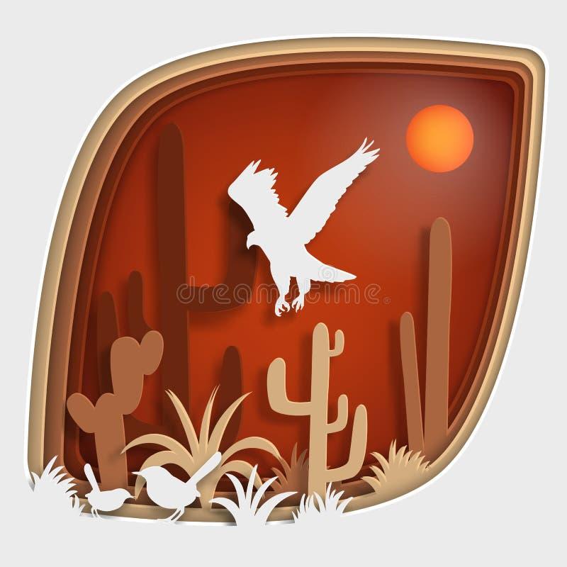 Document de kunst snijdt aan vogel op boomtak in bos bij nacht, de aard van het origamiconcept en dierenidee, vectorkunst en stock illustratie