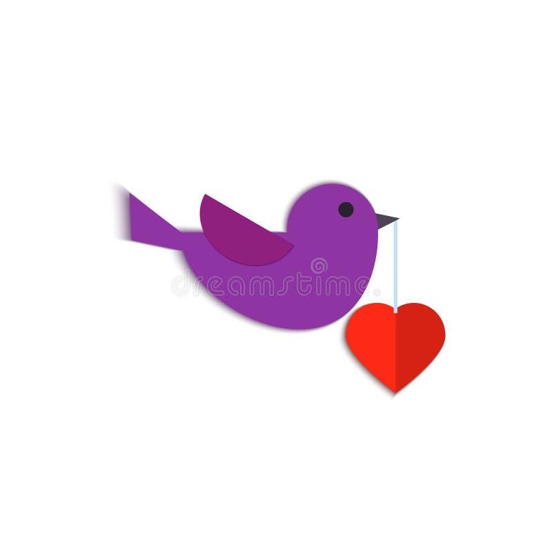 Document de kunst snijdt een vogel vliegt met een hart in zijn bek op witte achtergrond Origami papercut concept en de dag van Va vector illustratie