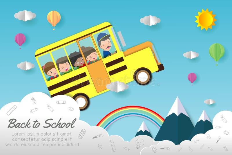Document de kunst van terug naar school, jonge geitjes op Schoolbus, onderwijsconcept, document sneed stijl vectordieillustratie  stock illustratie