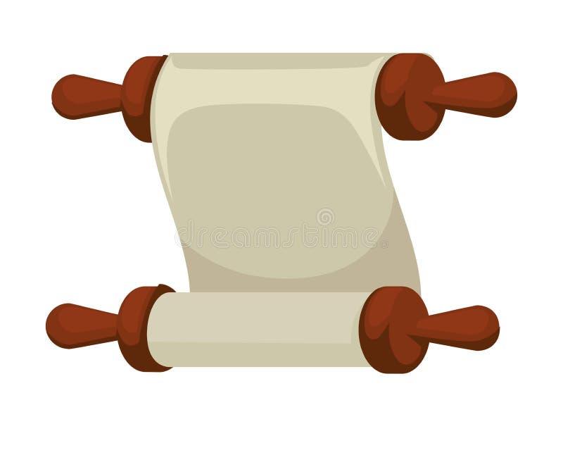 Document de papier antique de cru de rouleau ou de parchemin de blanc illustration stock