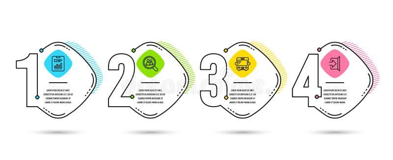 Document de rapport, employés de recherche et icônes d'autobus Quittez le signe Vecteur illustration libre de droits