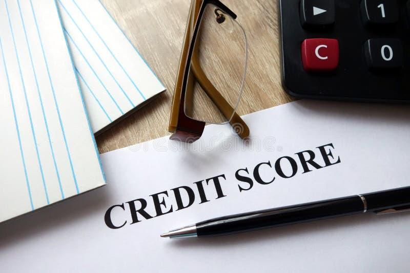 Document de score de crédit photos stock
