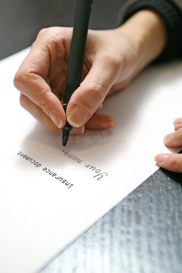 Document de signature d'assurance photographie stock