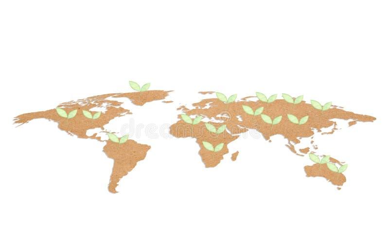 document in de vorm van wereld en het groene concept van het bladerenmilieu stock afbeeldingen