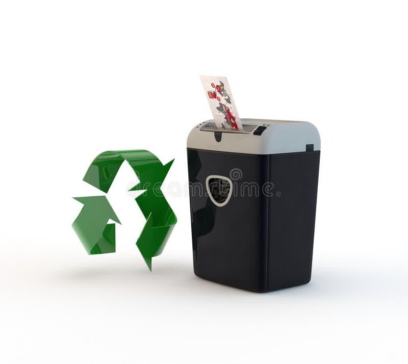 Document destoyer en recyclerend stock illustratie
