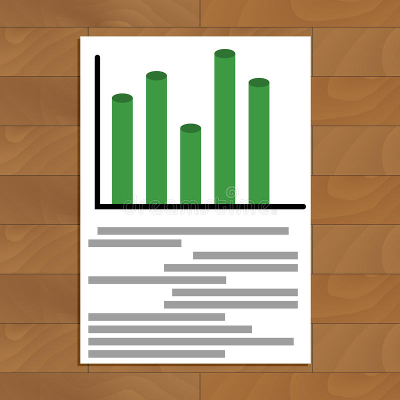 Document with diagramm. Business infochart trend on corporate paper document, vector illustration stock illustration