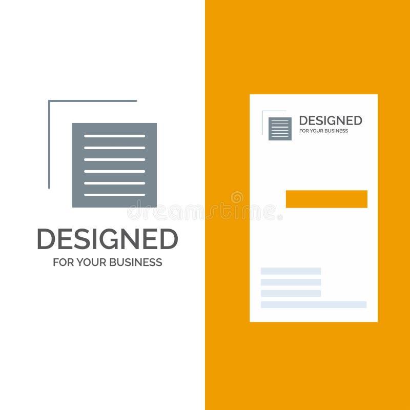Document, Dossier, Gebruiker, Interface Grey Logo Design en Visitekaartjemalplaatje vector illustratie