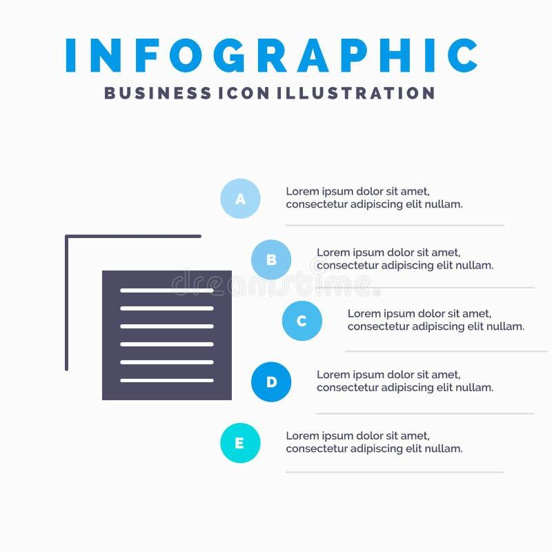 Document, Dossier, Gebruiker, Interface Stevig Pictogram Infographics 5 de Achtergrond van de Stappenpresentatie royalty-vrije illustratie