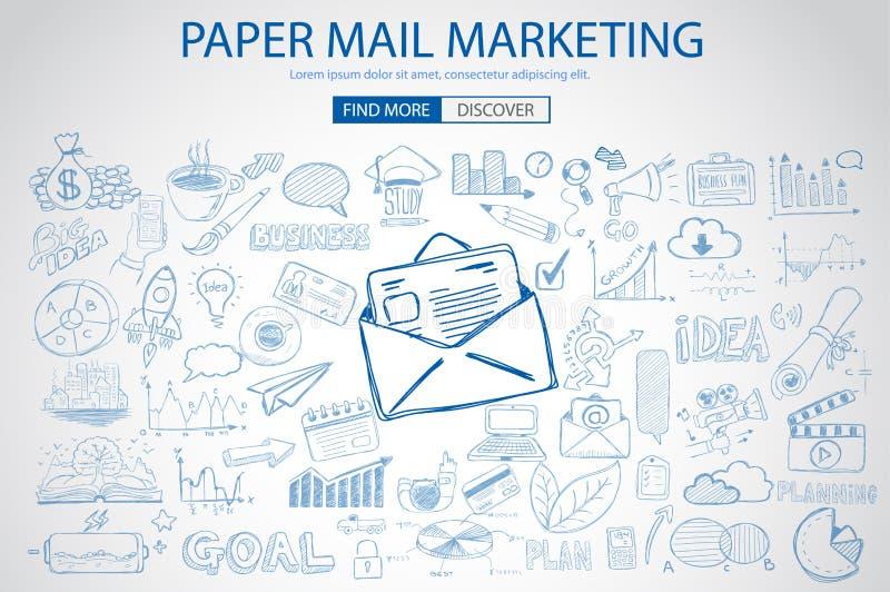 Document e-mail Marketing met de stijl van het Krabbelontwerp: het verzenden van echte post stock illustratie