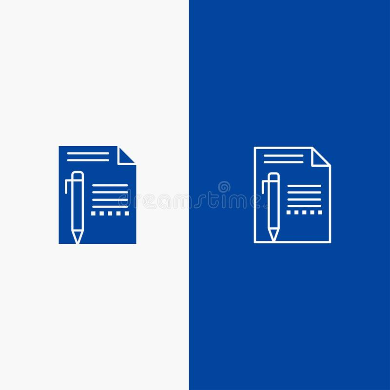 Document, Edit, Page, Paper, Pencil, Write Line and Glyph Solid icon Blue banner Line and Glyph Solid icon Blue banner vector illustration