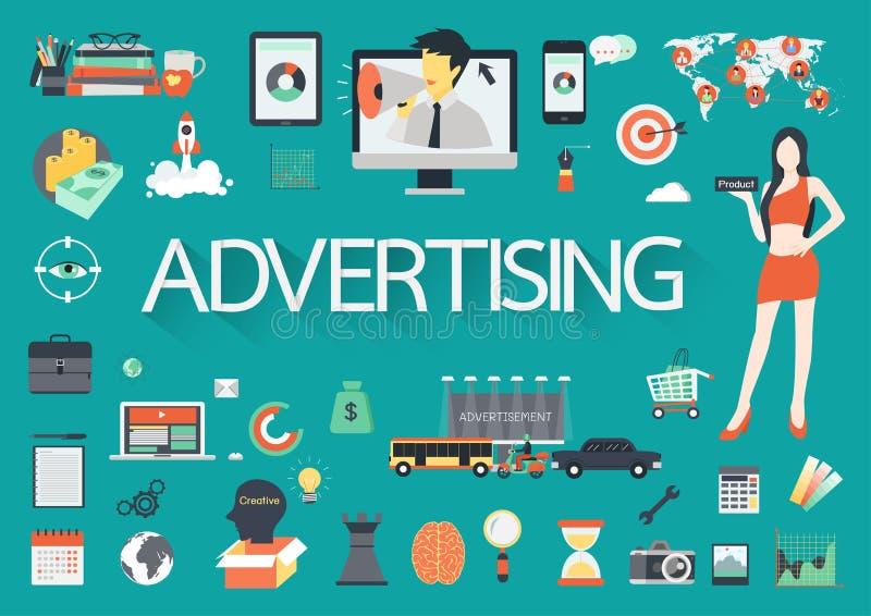 Document effect brieven de woord reclame omringd door vlak pictogram stock illustratie