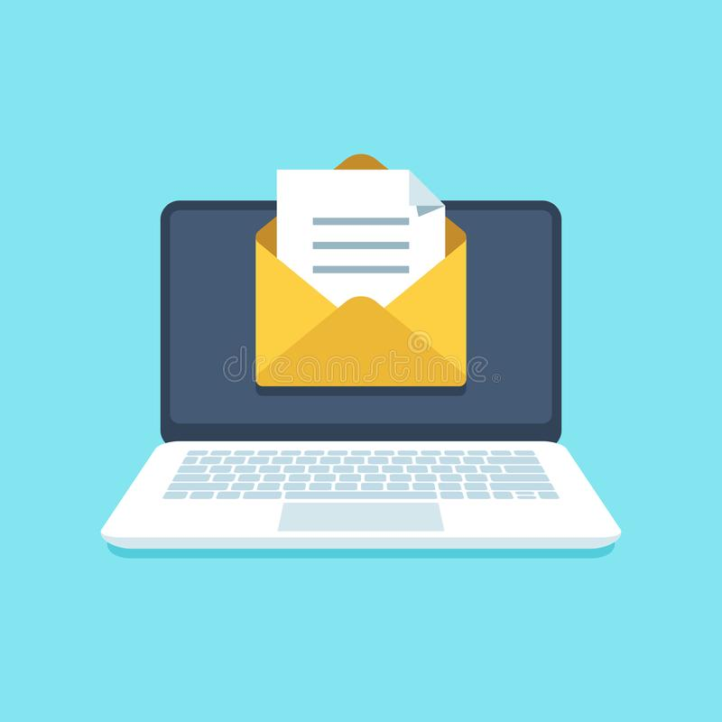 Document email on notebook. Mail letter with documents for signing on computer screen. Inbox notification vector. Document email on notebook. Mail letter with vector illustration