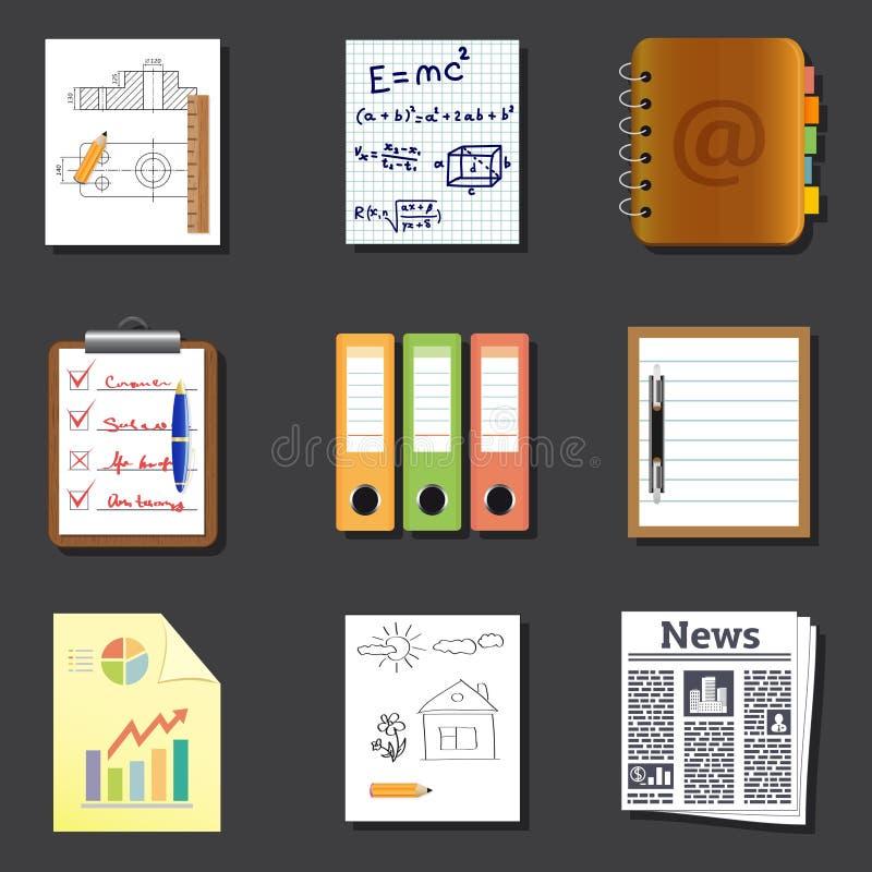 Document en documentenpictogrammen stock illustratie
