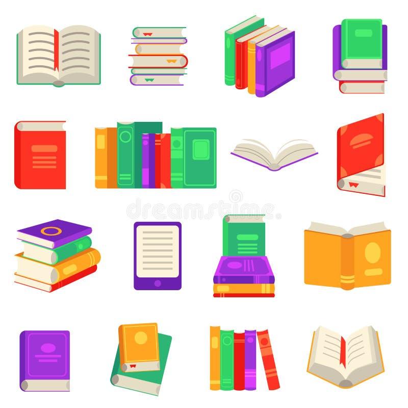 Document en elektronische die boeken met diverse dichte en open die lezingsvoorwerpen wordt geplaatst op witte achtergrond worden vector illustratie
