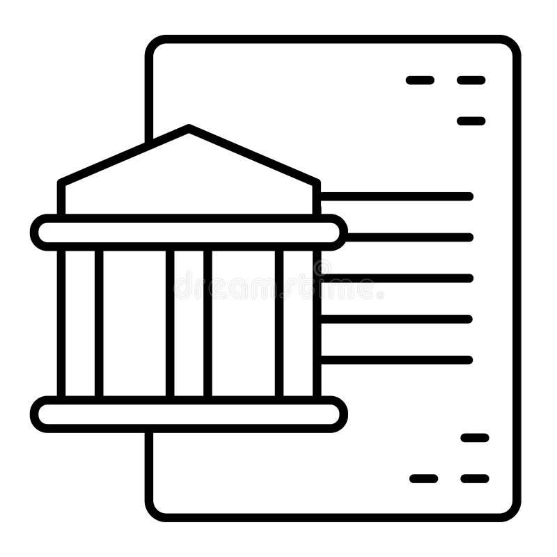 Document en pictogram van de de bouw het dunne lijn De vectordieillustratie van de universiteitsdocumentatie op wit wordt geïsole stock illustratie