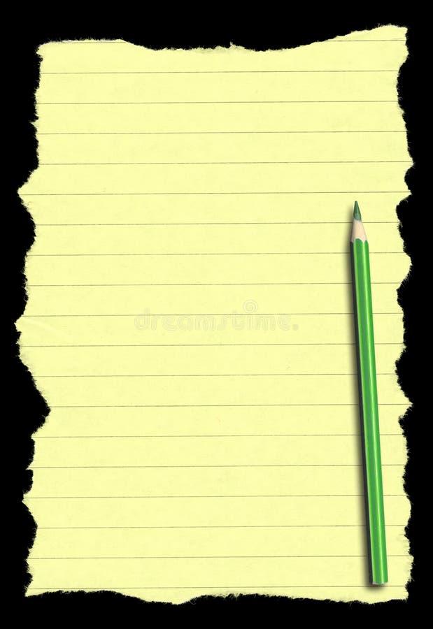 Document en potlood dat op diepe zwarte achtergrond wordt geïsoleerdc stock foto's
