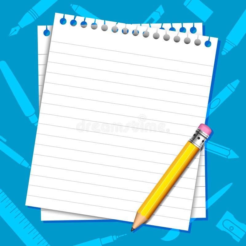 Document en Potloodachtergrond stock illustratie