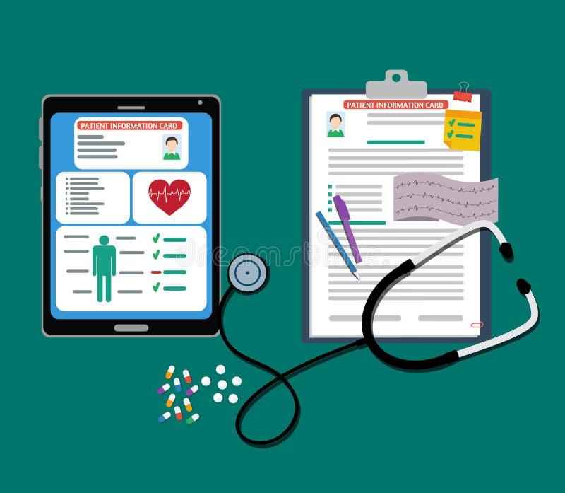 Document en tablet geduldige kaarten met documenten, stethoscoop, pillen, pen geduldige kaart vector illustratie