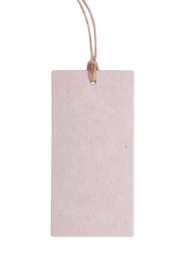 Document etiket met een koord stock afbeeldingen