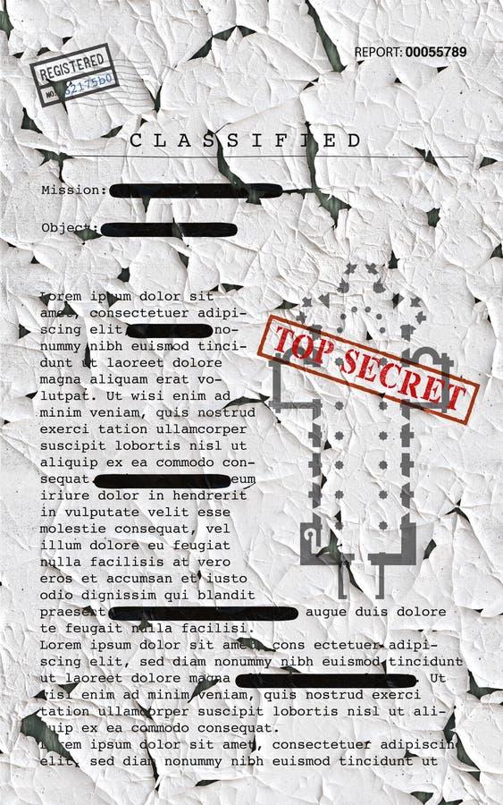 Document extrêmement secret, l'information déclassée et confidentielle, texte secret L'information non publique illustration de vecteur
