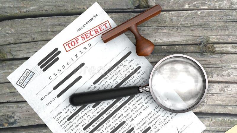 Document extrêmement secret, l'information déclassée et confidentielle, texte secret Tampon en caoutchouc et agrandissement illustration de vecteur