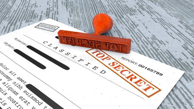 Document extrêmement secret, timbre, l'information déclassée et confidentielle, texte secret L'information non publique illustration libre de droits