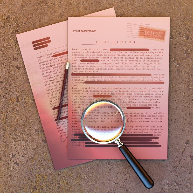 Document extr?mement secret, l'information d?class?e et confidentielle, texte secret L'information non publique Feuille de papier illustration de vecteur