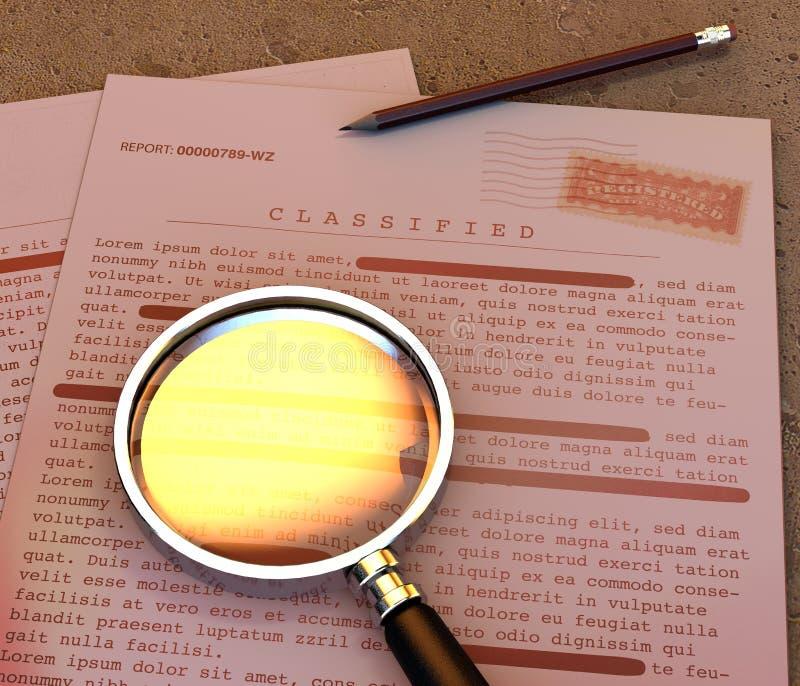Document extr?mement secret, l'information d?class?e et confidentielle, texte secret L'information non publique Feuille de papier illustration stock