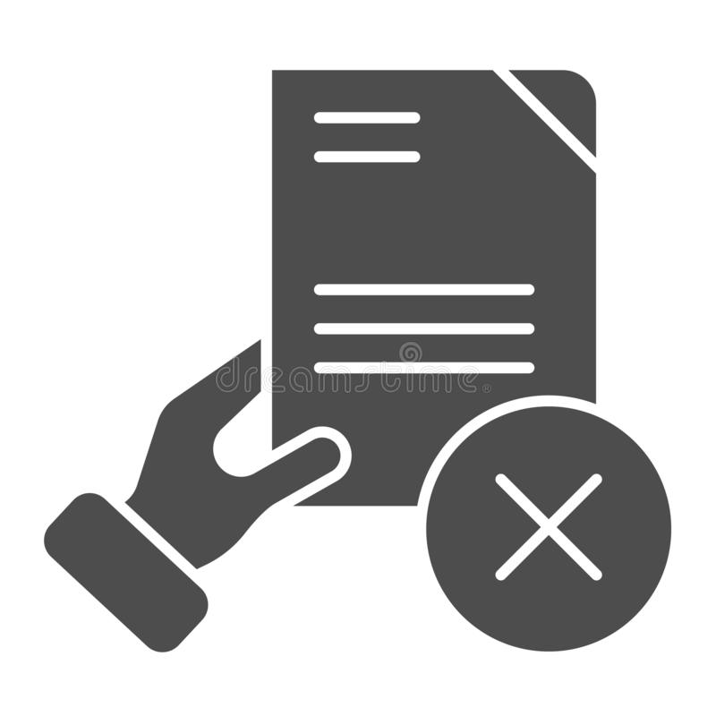 Document fail solid icon. Quality control fail vector illustration isolated on white. Hand holding paper glyph style. Design, designed for web and app. Eps 10 royalty free illustration