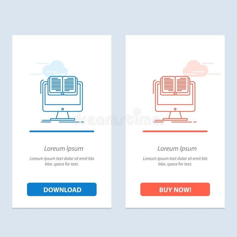 Document, File, Computer, Cv, Book  Blue and Red Download and Buy Now web Widget Card Template vector illustration