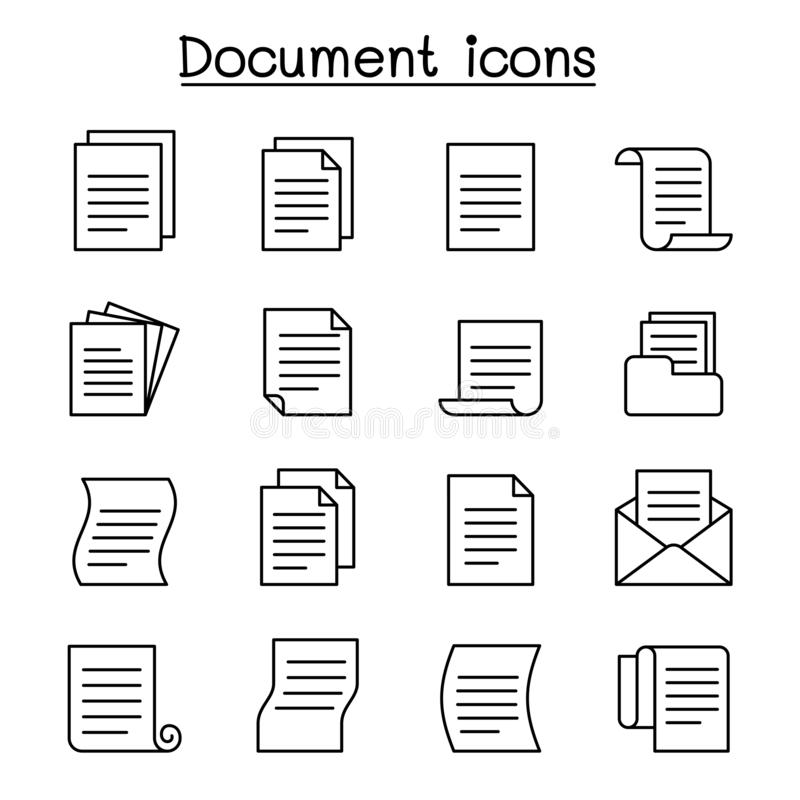 Document & File icon set in thin line style vector illustration