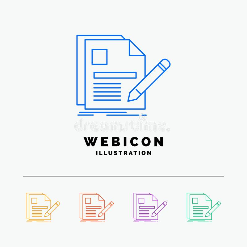 Document, file, page, pen, Resume 5 Color Line Web Icon Template isolated on white. Vector illustration. Vector EPS10 Abstract Template background royalty free illustration