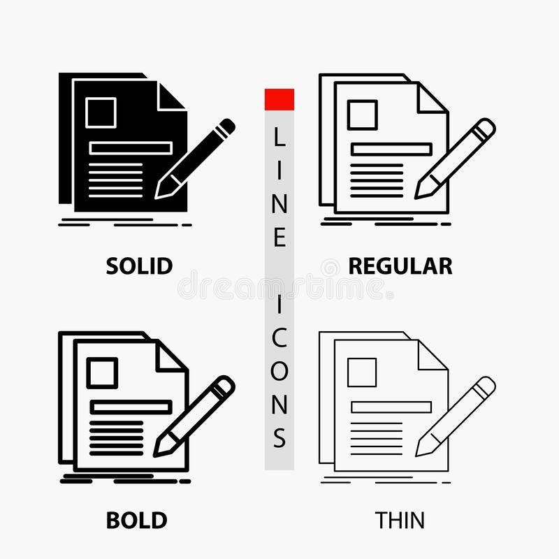 Document, file, page, pen, Resume Icon in Thin, Regular, Bold Line and Glyph Style. Vector illustration. Vector EPS10 Abstract Template background vector illustration