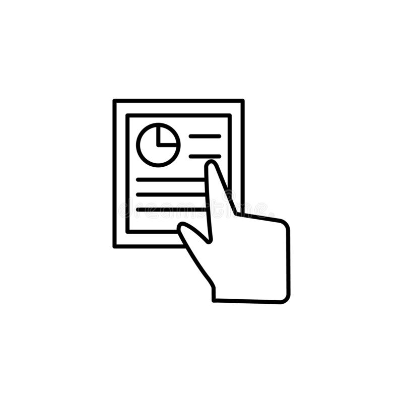Document, finger, touch, gestures icon. Element of corruption icon. Thin line icon on white background royalty free illustration