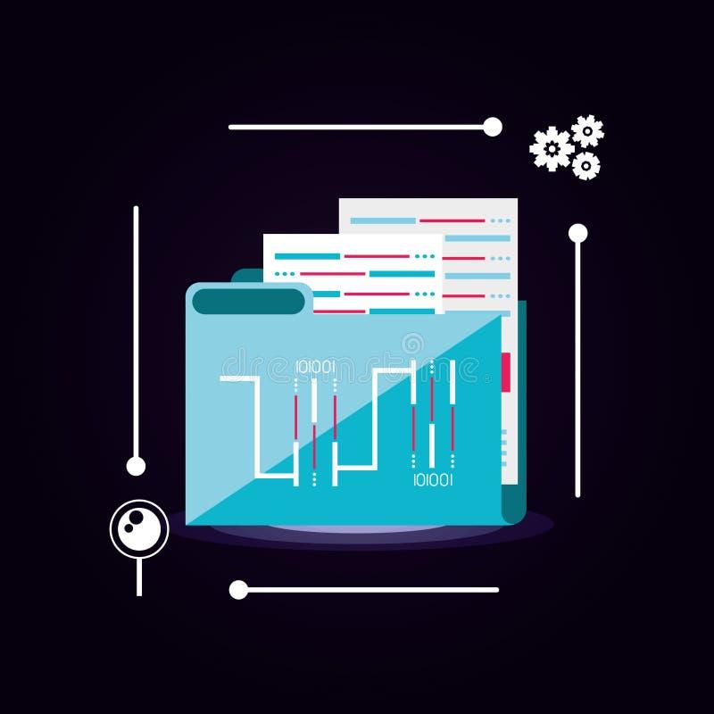 Document folder with data center icon vector illustration