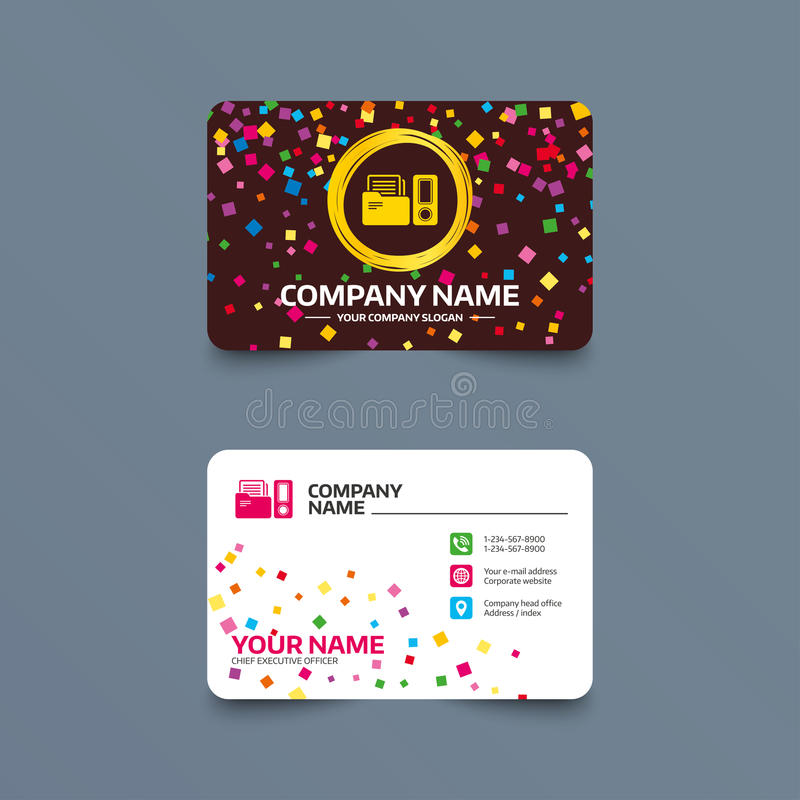 Document folder sign. Accounting binder symbol. Business card template with confetti pieces. Document folder sign. Accounting binder symbol. Bookkeeping stock illustration