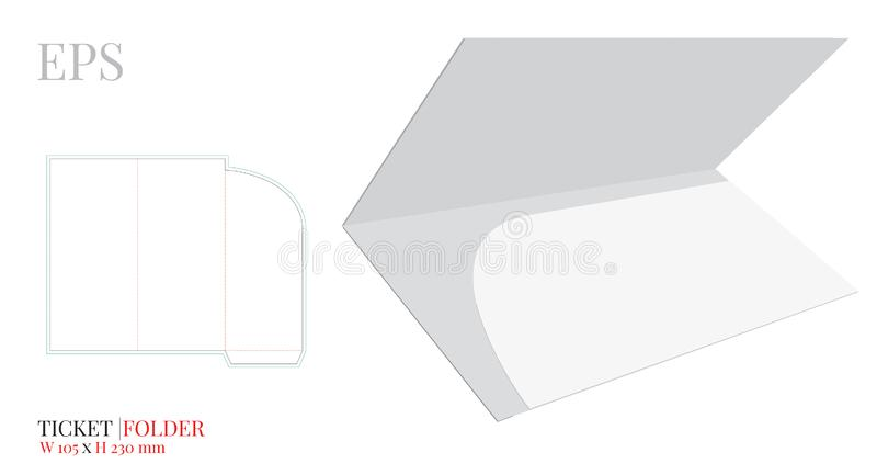 Document Folder Template, Ticket Folder Envelope, Vector with die cut / laser cut lines. White, blank, isolated Travel Folder vector illustration