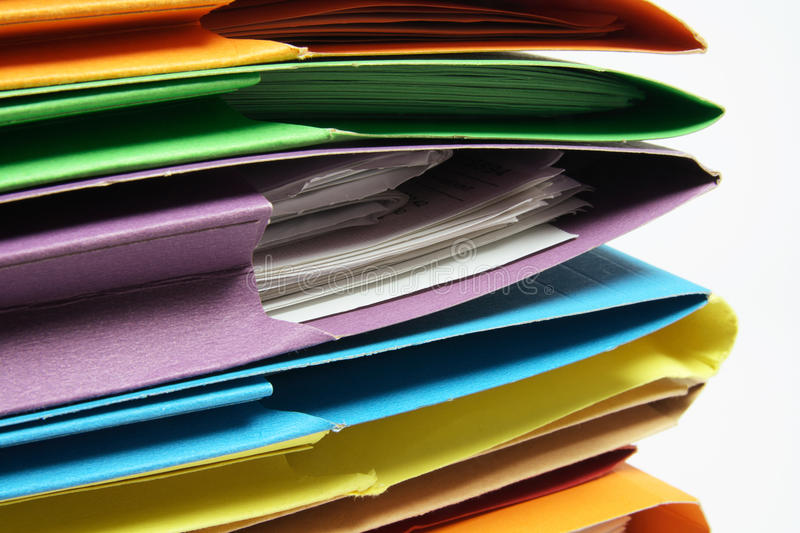 Document Folders. Close Up of Document Folders on White Background stock images