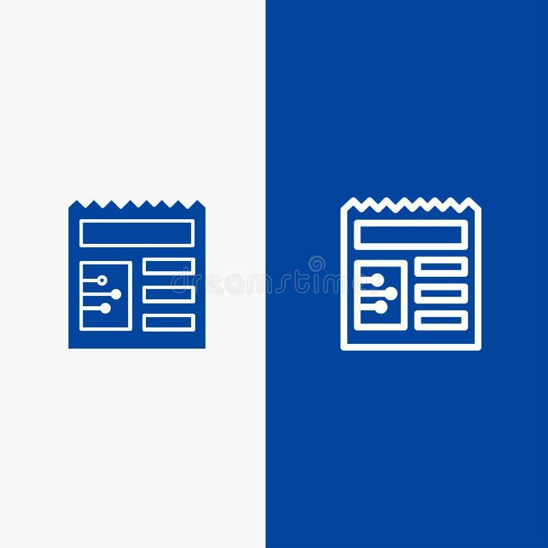 Document, Fundamentele, Ui-Lijn en Lijn van de het pictogram Blauwe banner van Glyph de Stevige en Stevige het pictogram Blauwe b royalty-vrije illustratie